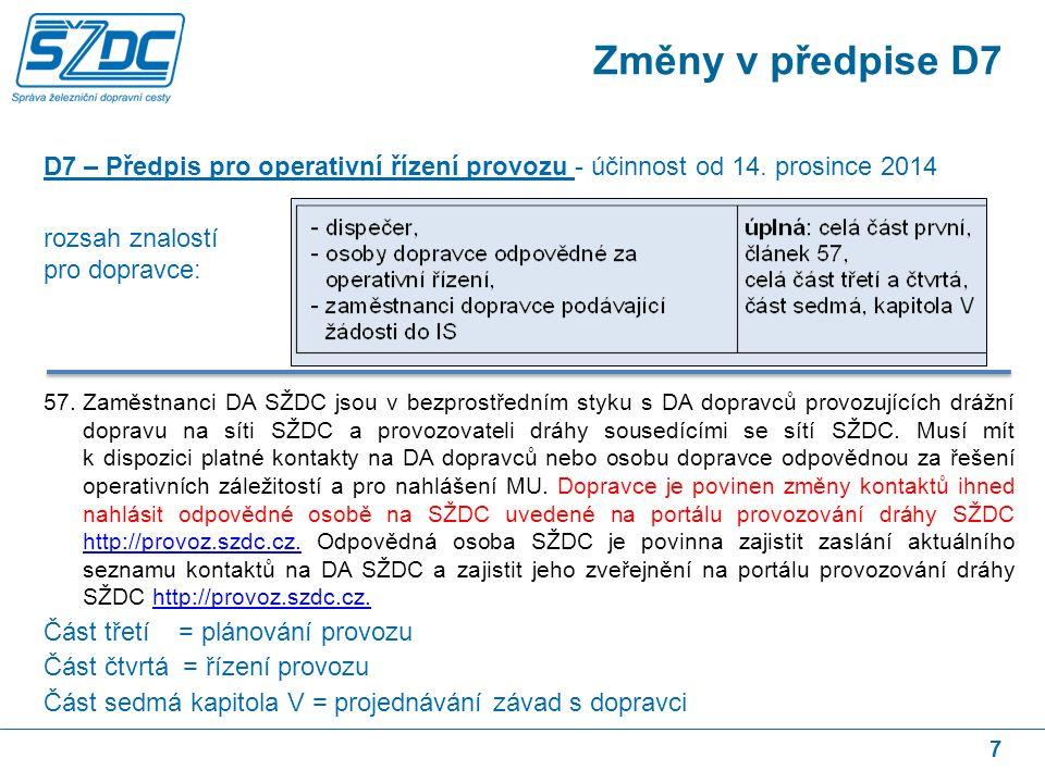 7 D7 – Předpis pro operativní řízení provozu - účinnost od 14. prosince 2014 rozsah znalostí pro dopravce: 57.Zaměstnanci DA SŽDC jsou v bezprostřední
