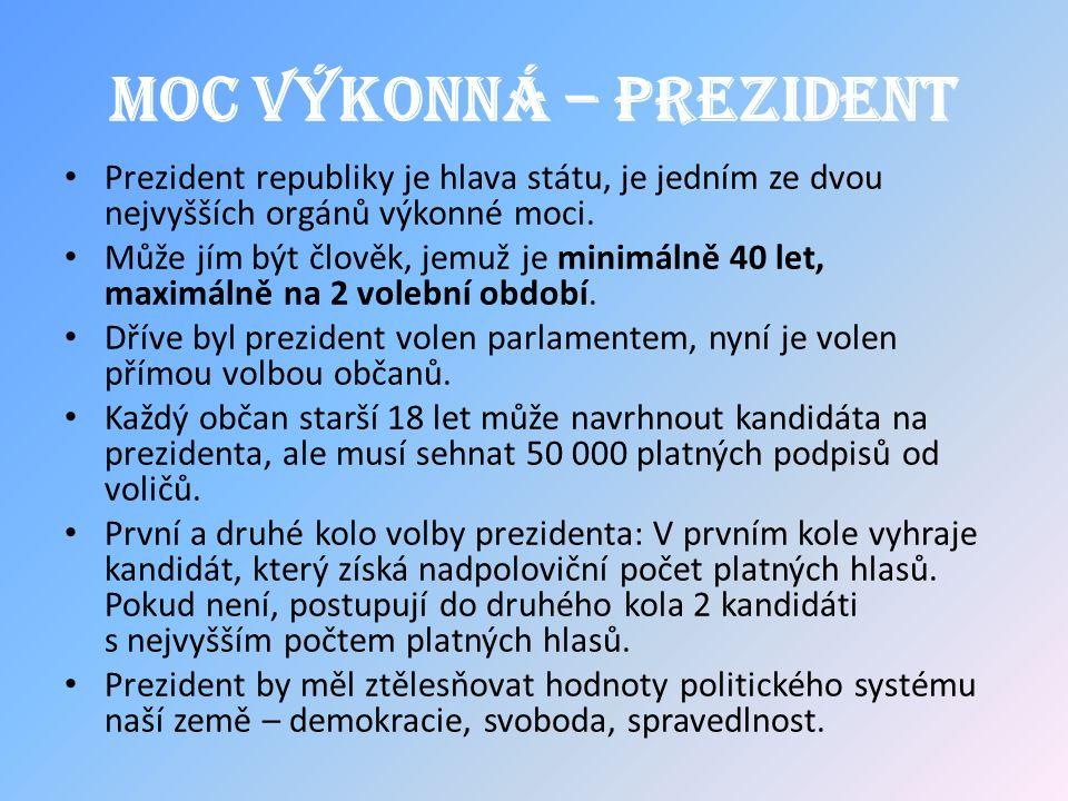 Moc výkonná – prezident Prezident republiky je hlava státu, je jedním ze dvou nejvyšších orgánů výkonné moci.