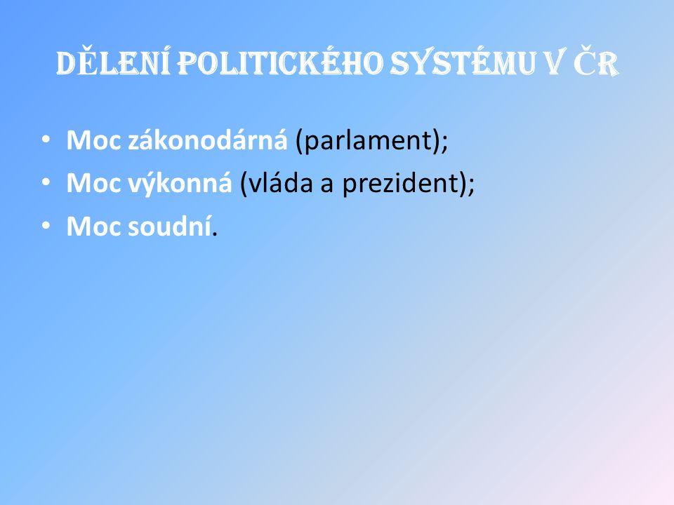 D Ě lení politického systému v Č R Moc zákonodárná (parlament); Moc výkonná (vláda a prezident); Moc soudní.