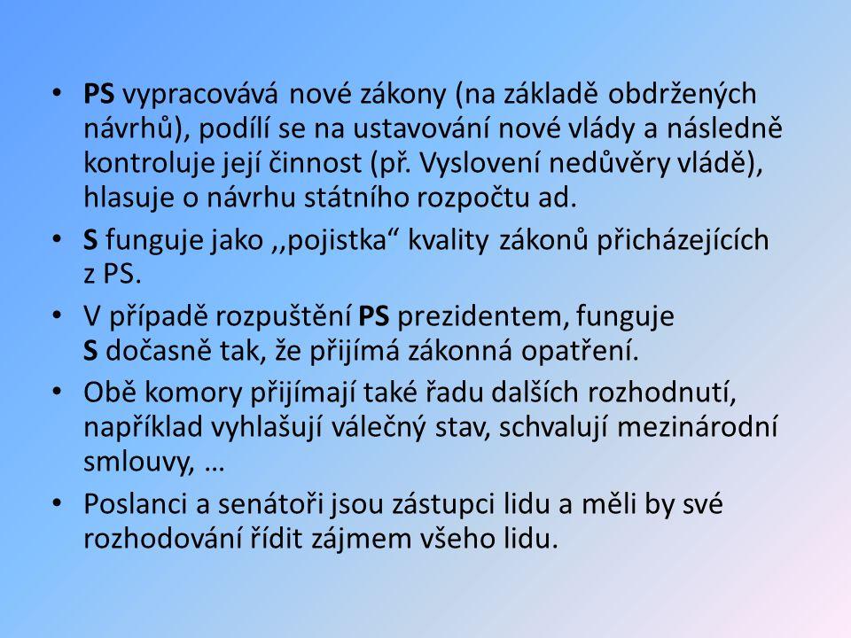 PS vypracovává nové zákony (na základě obdržených návrhů), podílí se na ustavování nové vlády a následně kontroluje její činnost (př.