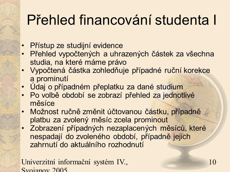 10 Univerzitní informační systém IV., Svojanov 2005 Přehled financování studenta I Přístup ze studijní evidence Přehled vypočtených a uhrazených částek za všechna studia, na které máme právo Vypočtená částka zohledňuje případné ruční korekce a prominutí Údaj o případném přeplatku za dané studium Po volbě období se zobrazí přehled za jednotlivé měsíce Možnost ručně změnit účtovanou částku, případně platbu za zvolený měsíc zcela prominout Zobrazení případných nezaplacených měsíců, které nespadají do zvoleného období, případně jejich zahrnutí do aktuálního rozhodnutí