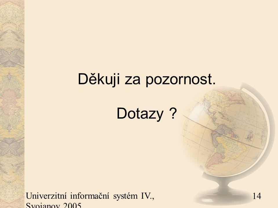 14 Univerzitní informační systém IV., Svojanov 2005 Děkuji za pozornost. Dotazy