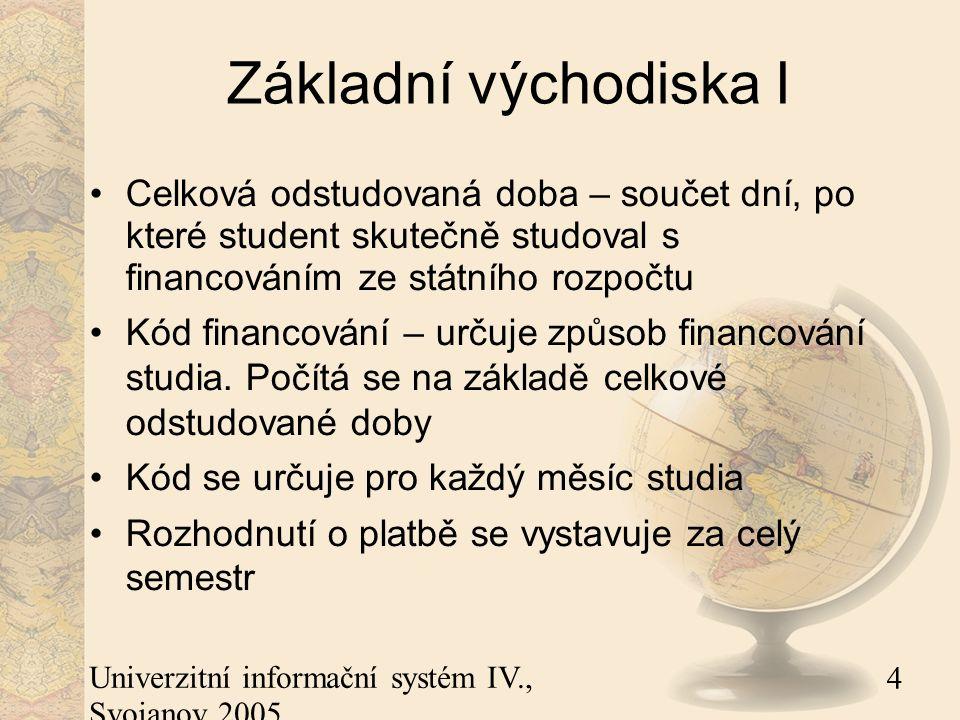 4 Univerzitní informační systém IV., Svojanov 2005 Základní východiska I Celková odstudovaná doba – součet dní, po které student skutečně studoval s financováním ze státního rozpočtu Kód financování – určuje způsob financování studia.
