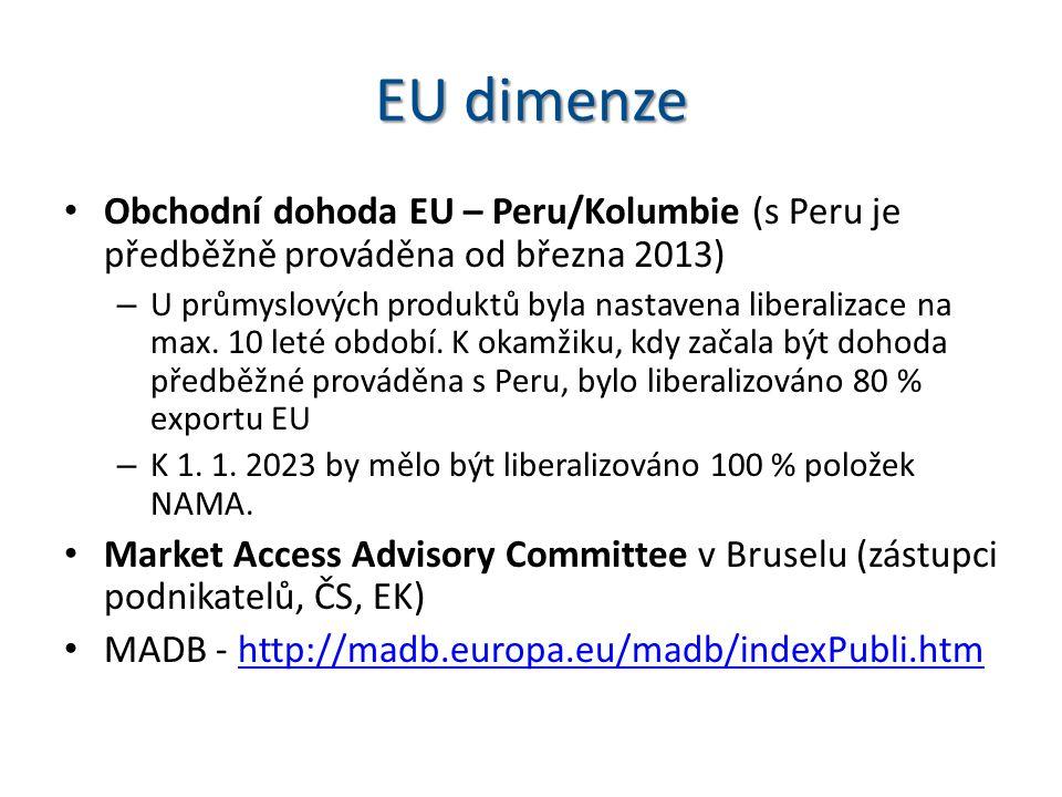 EU dimenze Obchodní dohoda EU – Peru/Kolumbie (s Peru je předběžně prováděna od března 2013) – U průmyslových produktů byla nastavena liberalizace na max.