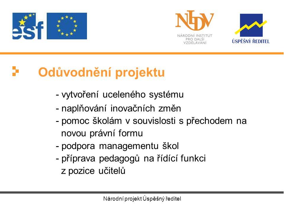 Národní projekt Úspěšný ředitel Odůvodnění projektu - vytvoření uceleného systému - naplňování inovačních změn - pomoc školám v souvislosti s přechodem na novou právní formu - podpora managementu škol - příprava pedagogů na řídící funkci z pozice učitelů