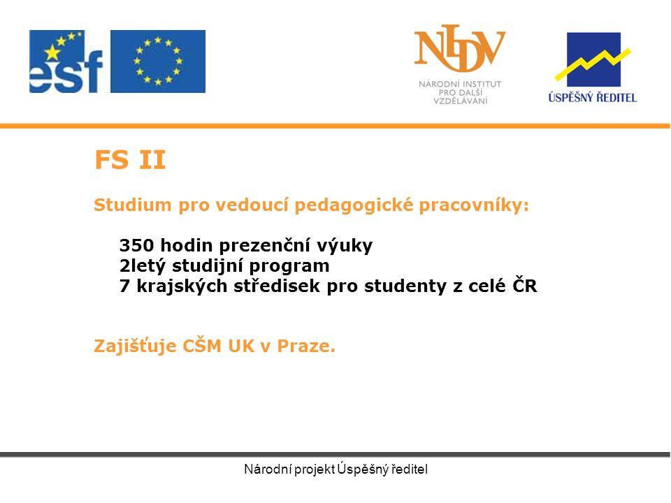 FS II Studium pro vedoucí pedagogické pracovníky: 350 hodin prezenční výuky 2letý studijní program 7 krajských středisek pro studenty z celé ČR Zajišťuje CŠM UK v Praze.
