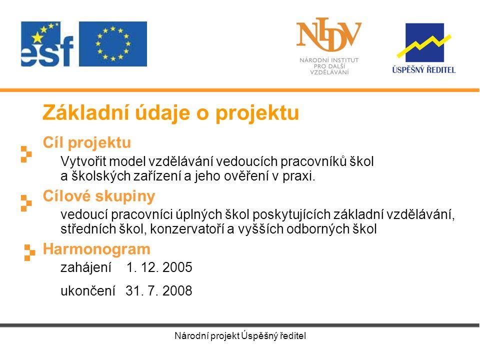 Národní projekt Úspěšný ředitel Základní údaje o projektu Cíl projektu Vytvořit model vzdělávání vedoucích pracovníků škol a školských zařízení a jeho ověření v praxi.