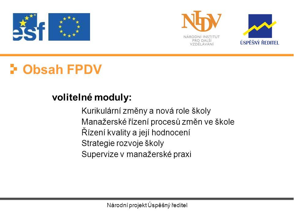Národní projekt Úspěšný ředitel 20052006 2007 2008 FS I I.