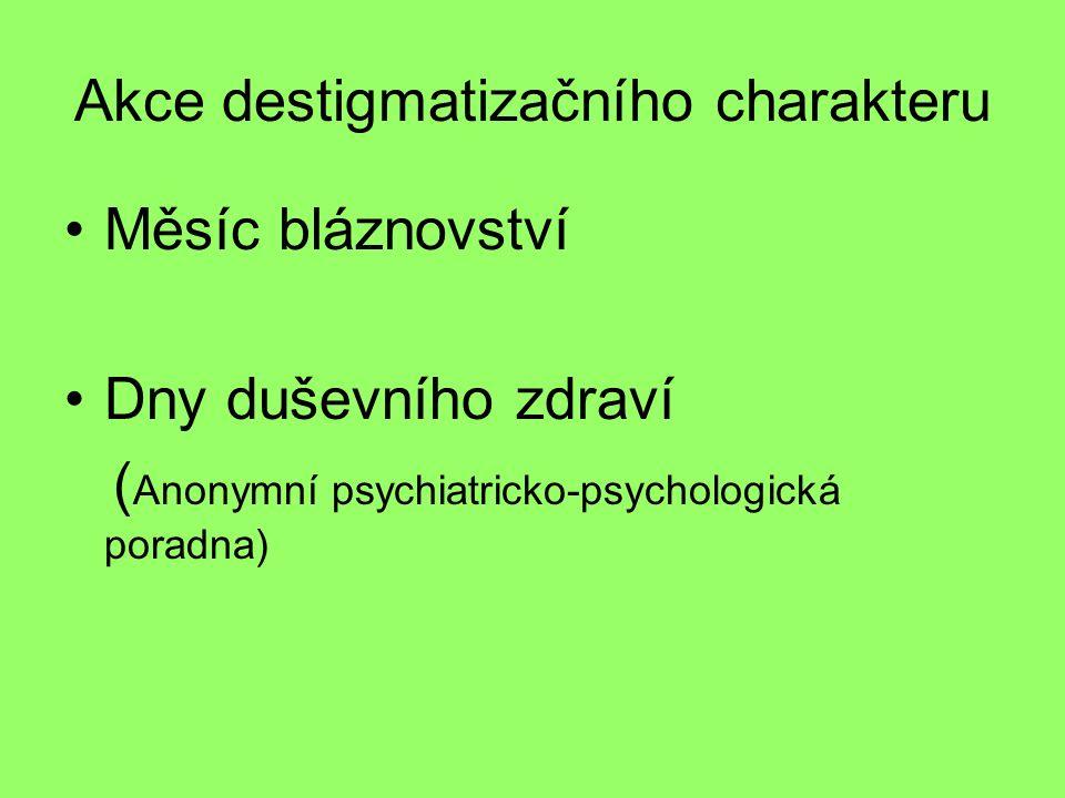 Akce destigmatizačního charakteru Měsíc bláznovství Dny duševního zdraví ( Anonymní psychiatricko-psychologická poradna)