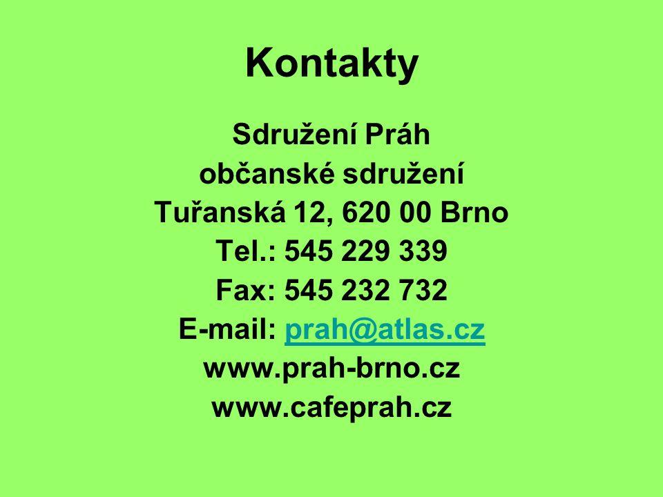 Kontakty Sdružení Práh občanské sdružení Tuřanská 12, 620 00 Brno Tel.: 545 229 339 Fax: 545 232 732 E-mail: prah@atlas.czprah@atlas.cz www.prah-brno.cz www.cafeprah.cz