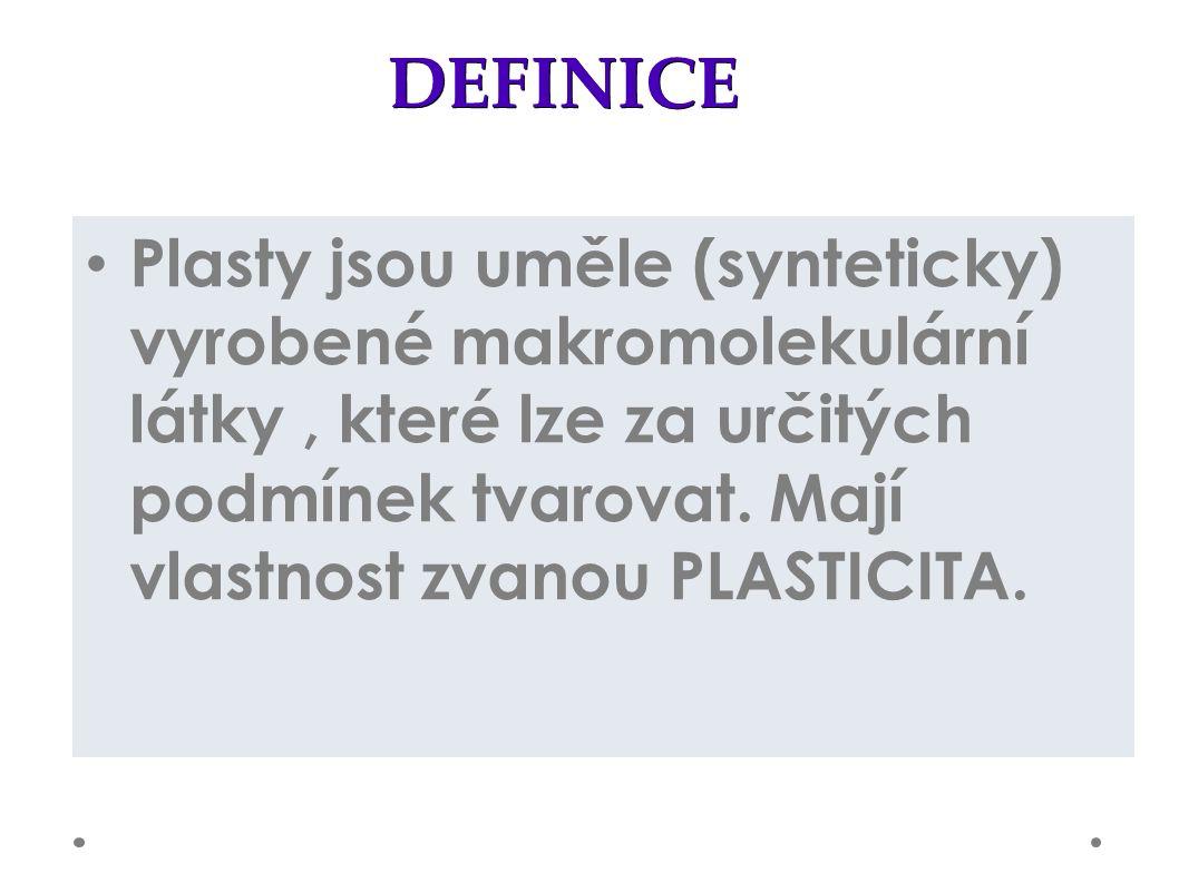 DEFINICE Plasty jsou uměle (synteticky) vyrobené makromolekulární látky, které lze za určitých podmínek tvarovat.