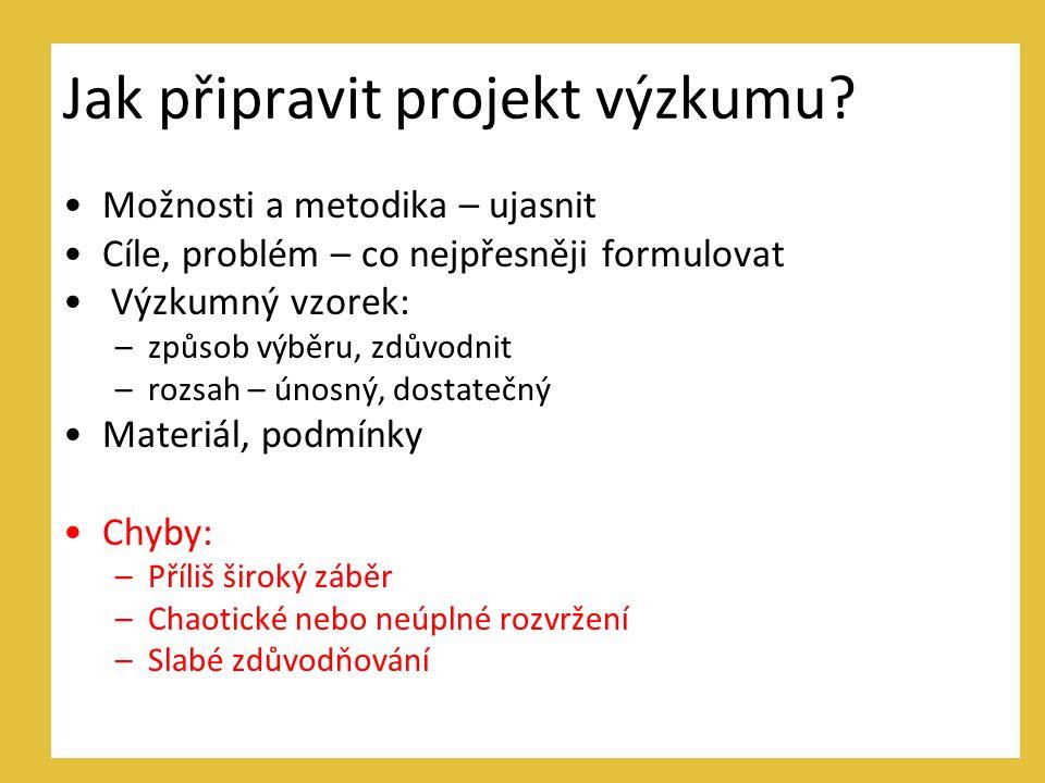 Jak připravit projekt výzkumu.