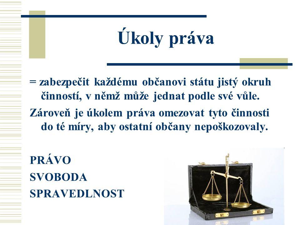 Úkoly práva = zabezpečit každému občanovi státu jistý okruh činností, v němž může jednat podle své vůle. Zároveň je úkolem práva omezovat tyto činnost