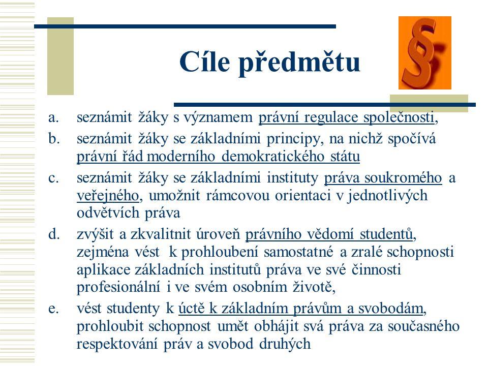 Cíle předmětu a.seznámit žáky s významem právní regulace společnosti, b.seznámit žáky se základními principy, na nichž spočívá právní řád moderního de