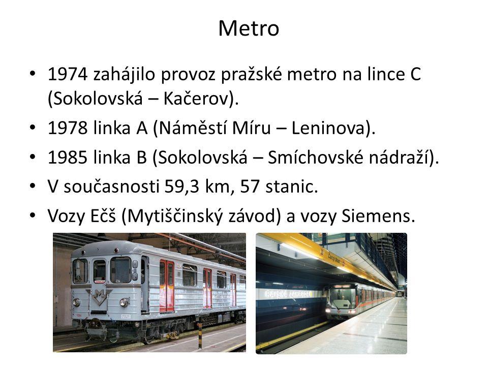 Metro 1974 zahájilo provoz pražské metro na lince C (Sokolovská – Kačerov). 1978 linka A (Náměstí Míru – Leninova). 1985 linka B (Sokolovská – Smíchov