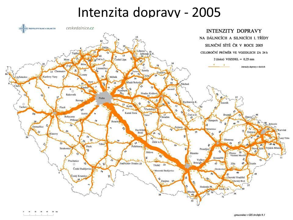 Intenzita dopravy - 2005