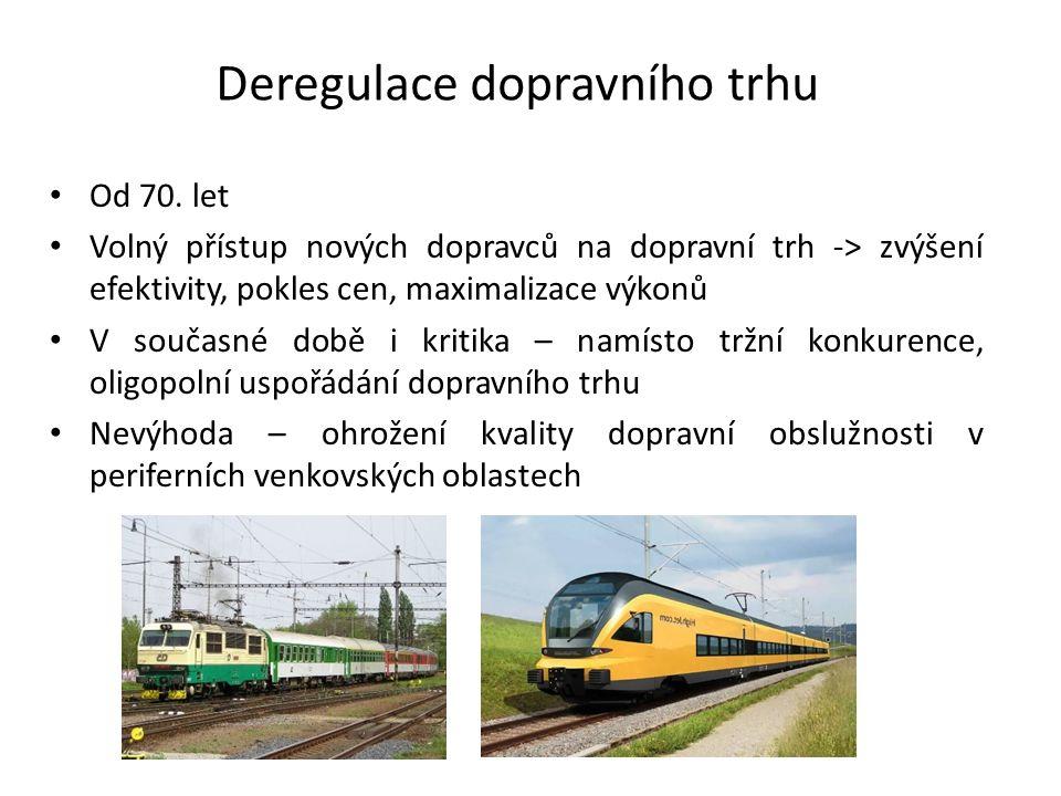 Deregulace dopravního trhu Od 70.
