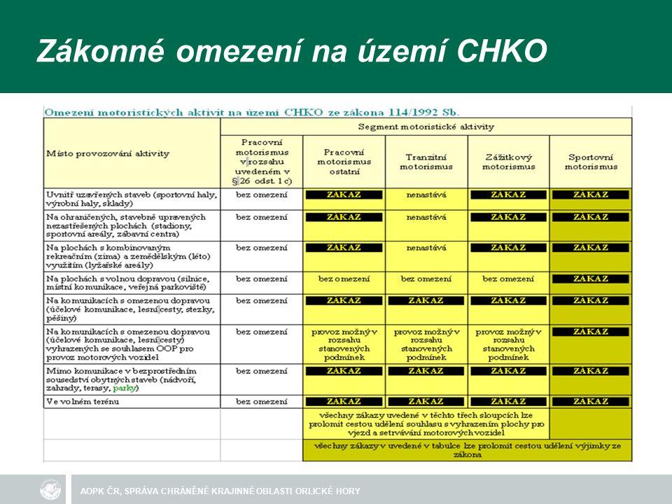 AOPK ČR, SPRÁVA CHRÁNĚNÉ KRAJINNÉ OBLASTI ORLICKÉ HORY Zákonné omezení na území CHKO