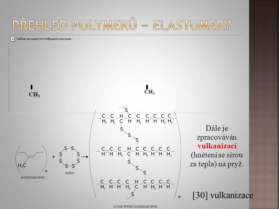 Dále je zpracováván vulkanizací (hnětení se sírou za tepla) na pryž. [30] vulkanizace CH 3