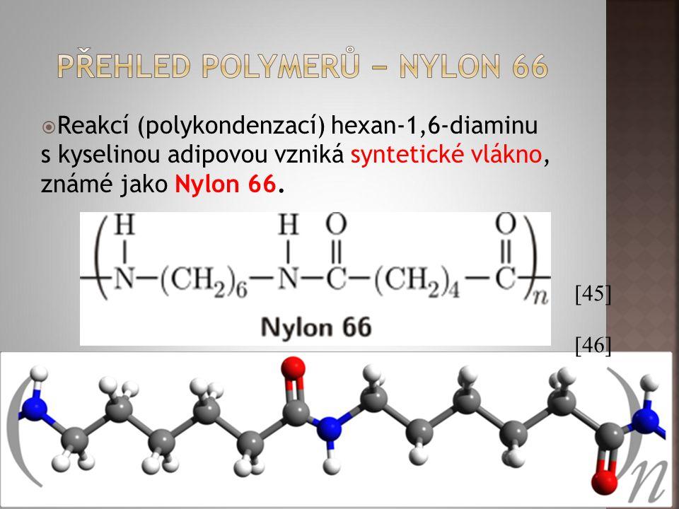  Reakcí (polykondenzací) hexan-1,6-diaminu s kyselinou adipovou vzniká syntetické vlákno, známé jako Nylon 66. [45] [46]