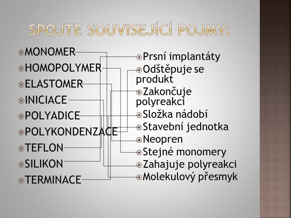  MONOMER  HOMOPOLYMER  ELASTOMER  INICIACE  POLYADICE  POLYKONDENZACE  TEFLON  SILIKON  TERMINACE  Prsní implantáty  Odštěpuje se produkt 