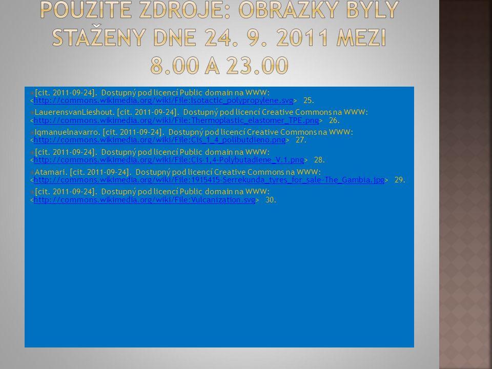  [cit. 2011-09-24]. Dostupný pod licencí Public domain na WWW: 25.http://commons.wikimedia.org/wiki/File:Isotactic_polypropylene.svg  LauerensvanLie