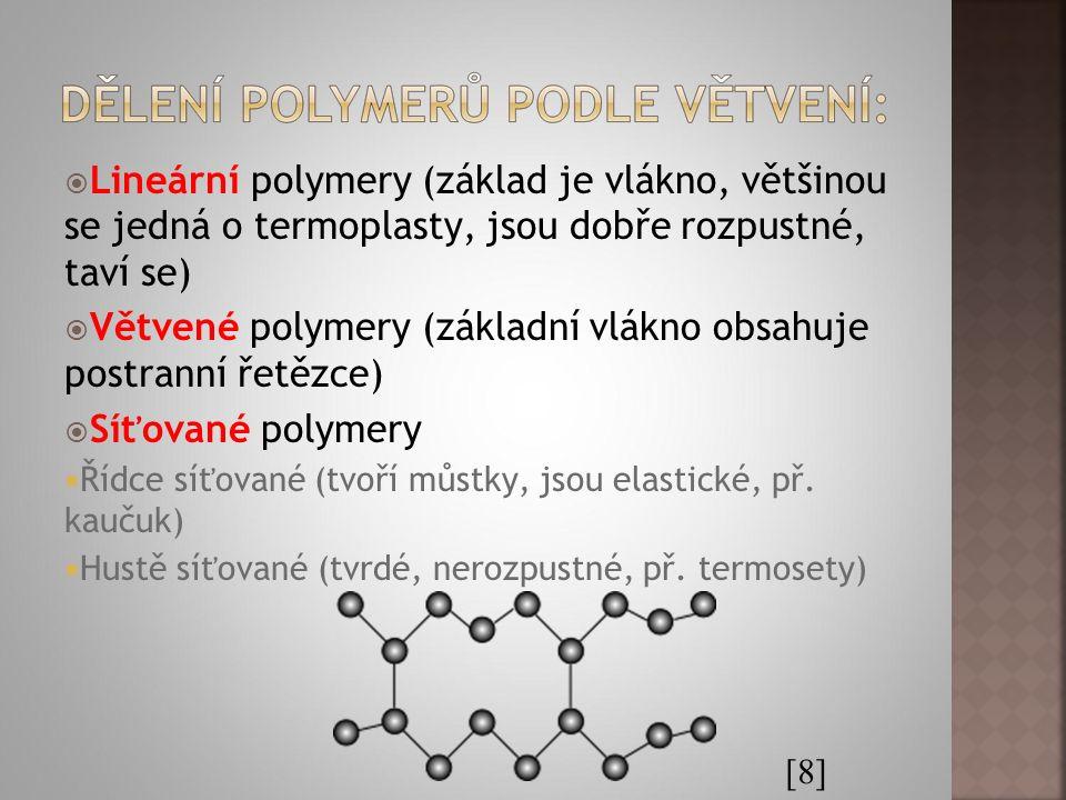  Lineární polymery (základ je vlákno, většinou se jedná o termoplasty, jsou dobře rozpustné, taví se)  Větvené polymery (základní vlákno obsahuje po