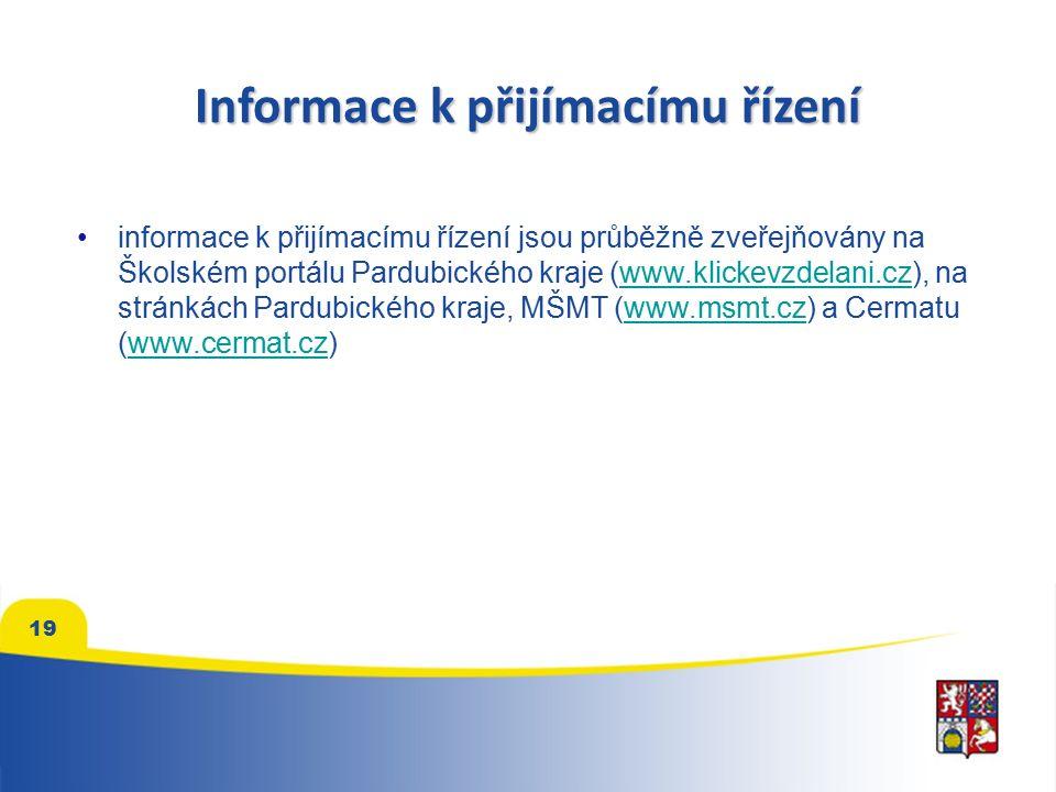 Informace k přijímacímu řízení informace k přijímacímu řízení jsou průběžně zveřejňovány na Školském portálu Pardubického kraje (www.klickevzdelani.cz), na stránkách Pardubického kraje, MŠMT (www.msmt.cz) a Cermatu (www.cermat.cz)www.klickevzdelani.czwww.msmt.czwww.cermat.cz 19