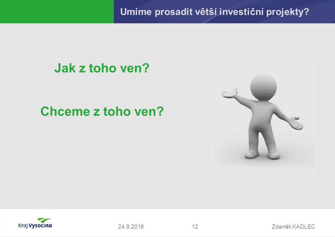 Zdeněk KADLEC1224.9.2016 Umíme prosadit větší investiční projekty.