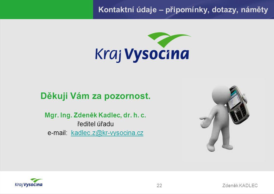 Zdeněk KADLEC22 Kontaktní údaje – připomínky, dotazy, náměty Děkuji Vám za pozornost.
