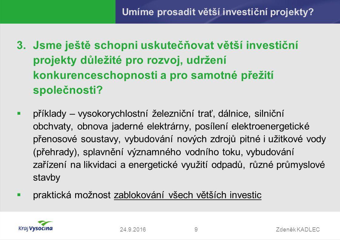 Zdeněk KADLEC924.9.2016 Umíme prosadit větší investiční projekty.