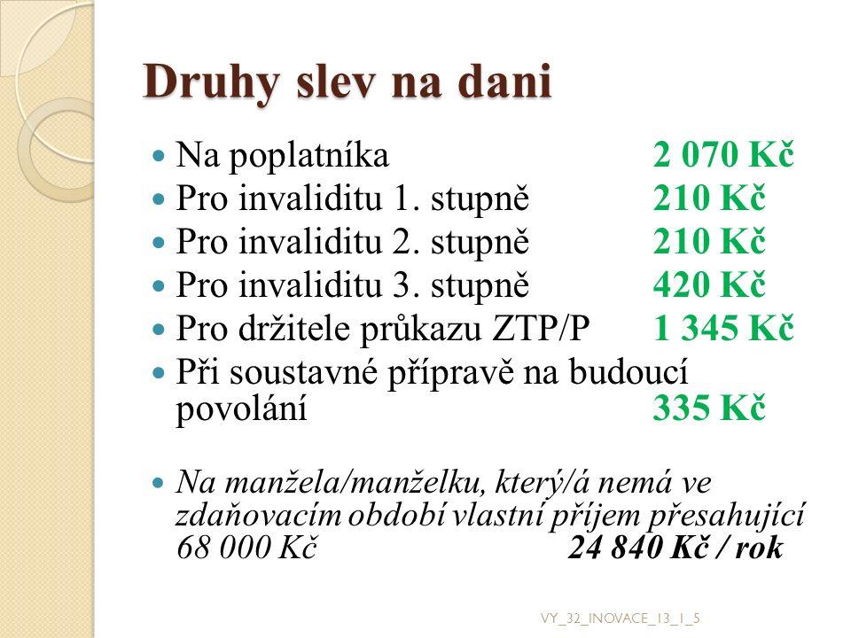 Druhy slev na dani Na poplatníka2 070 Kč Pro invaliditu 1.