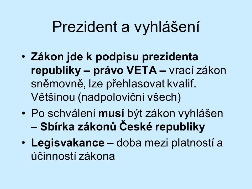 Prezident a vyhlášení Zákon jde k podpisu prezidenta republiky – právo VETA – vrací zákon sněmovně, lze přehlasovat kvalif.