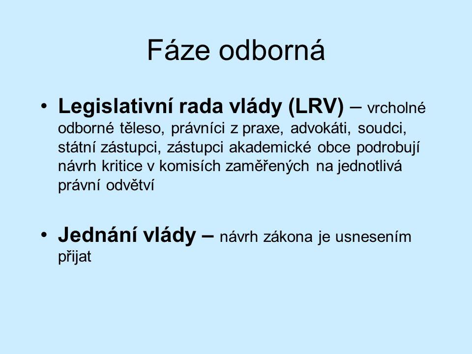 Fáze odborná Legislativní rada vlády (LRV) – vrcholné odborné těleso, právníci z praxe, advokáti, soudci, státní zástupci, zástupci akademické obce podrobují návrh kritice v komisích zaměřených na jednotlivá právní odvětví Jednání vlády – návrh zákona je usnesením přijat