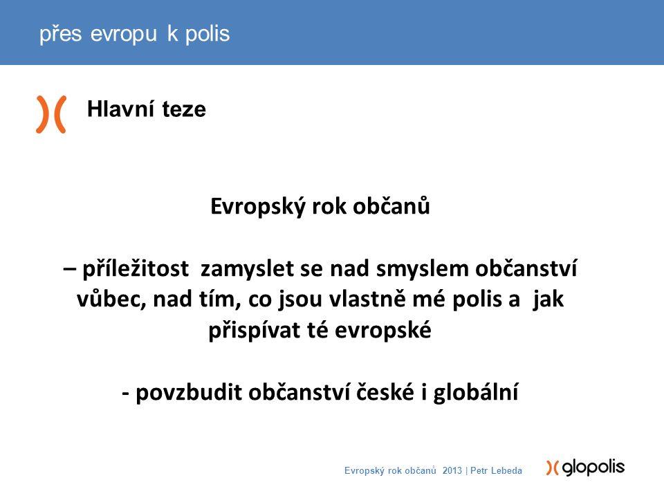 Evropské integrování jinak přes evropu k polis Evropský rok občanů 2013 | Petr Lebeda (Globální vzdělávání a křesťansko- židovská tradice) -EKONOMICKÁ -> POLITICKÁ -> OBČANSKÁ -> DUCHOVNÍ: vůle se dál otevírat jinakosti -PASIVNÍ -> AKTIVNÍ: Kritický a transformativní přístup (myšlení, cítění, konání) -EXKLUZIVITA -> INKLUZIVITA: rozšiřování a prohlubování polis i sebe sama
