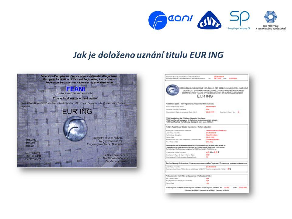 Jak je doloženo uznání titulu EUR ING