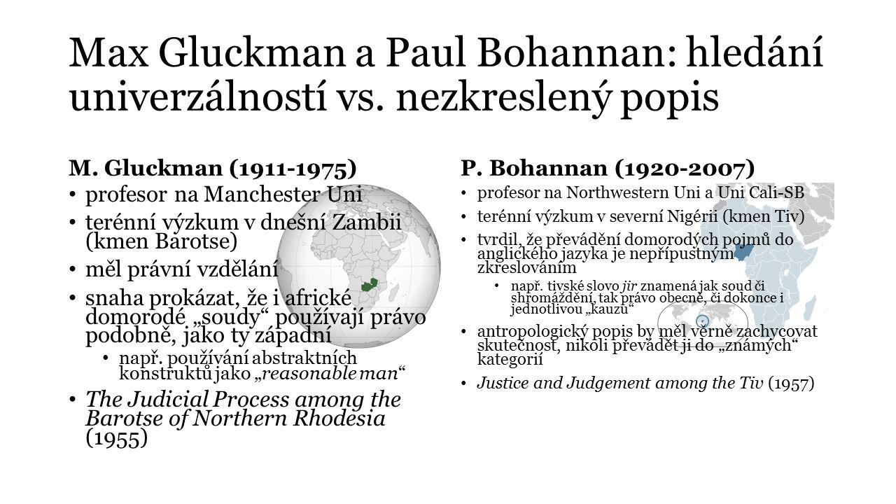 Max Gluckman a Paul Bohannan: hledání univerzálností vs. nezkreslený popis M. Gluckman (1911-1975) profesor na Manchester Uni terénní výzkum v dnešní