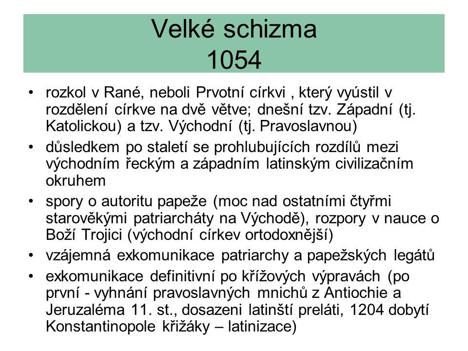 Velké schizma 1054 rozkol v Rané, neboli Prvotní církvi, který vyústil v rozdělení církve na dvě větve; dnešní tzv.
