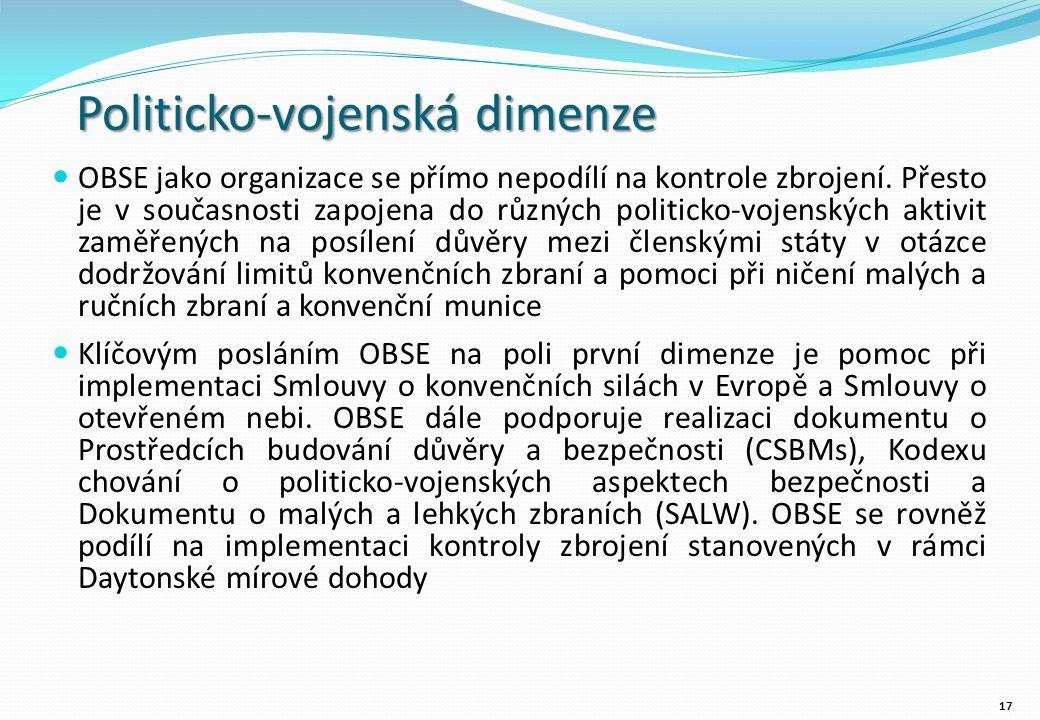 Politicko-vojenská dimenze OBSE jako organizace se přímo nepodílí na kontrole zbrojení.