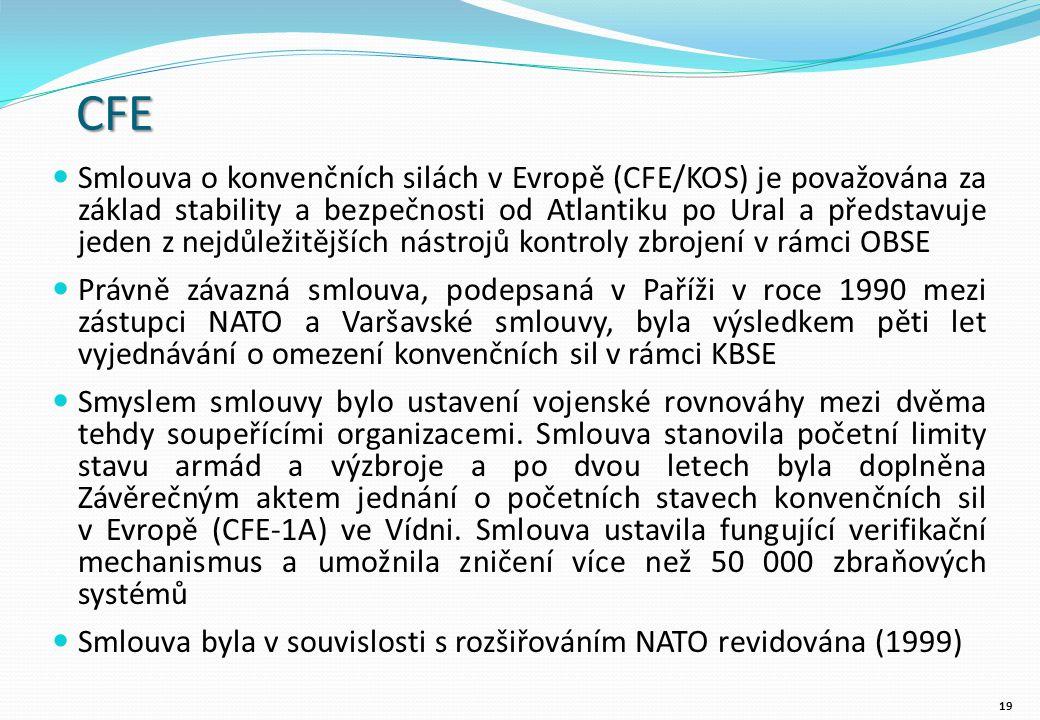 CFE Smlouva o konvenčních silách v Evropě (CFE/KOS) je považována za základ stability a bezpečnosti od Atlantiku po Ural a představuje jeden z nejdůležitějších nástrojů kontroly zbrojení v rámci OBSE Právně závazná smlouva, podepsaná v Paříži v roce 1990 mezi zástupci NATO a Varšavské smlouvy, byla výsledkem pěti let vyjednávání o omezení konvenčních sil v rámci KBSE Smyslem smlouvy bylo ustavení vojenské rovnováhy mezi dvěma tehdy soupeřícími organizacemi.