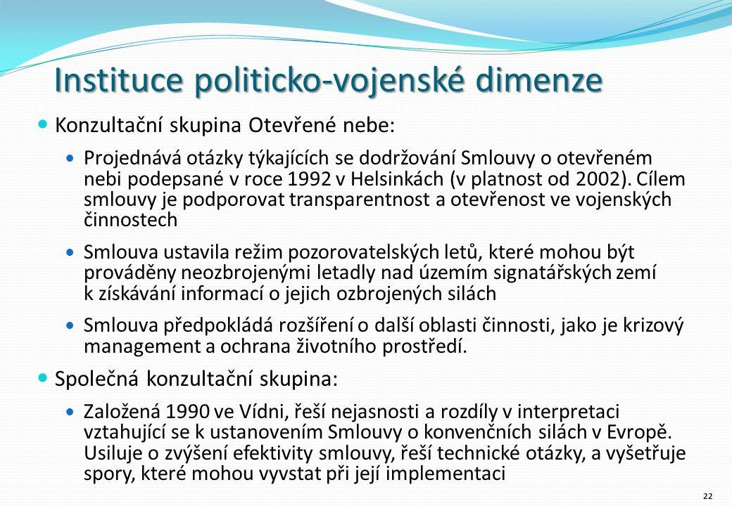 Instituce politicko-vojenské dimenze Konzultační skupina Otevřené nebe: Projednává otázky týkajících se dodržování Smlouvy o otevřeném nebi podepsané v roce 1992 v Helsinkách (v platnost od 2002).