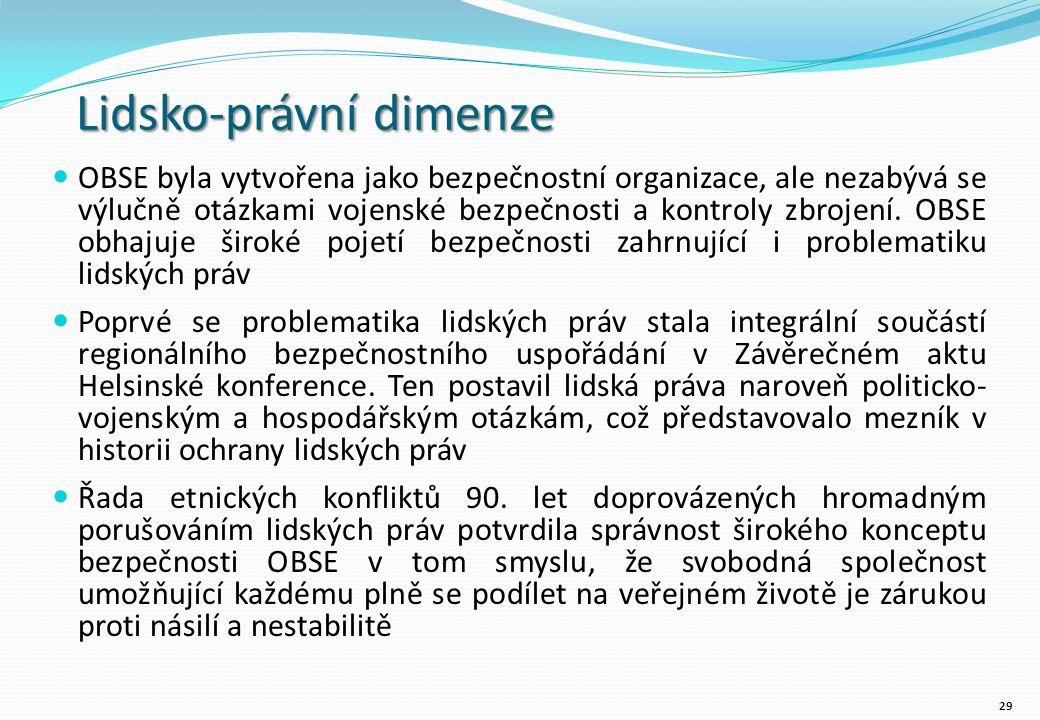 Lidsko-právní dimenze OBSE byla vytvořena jako bezpečnostní organizace, ale nezabývá se výlučně otázkami vojenské bezpečnosti a kontroly zbrojení.