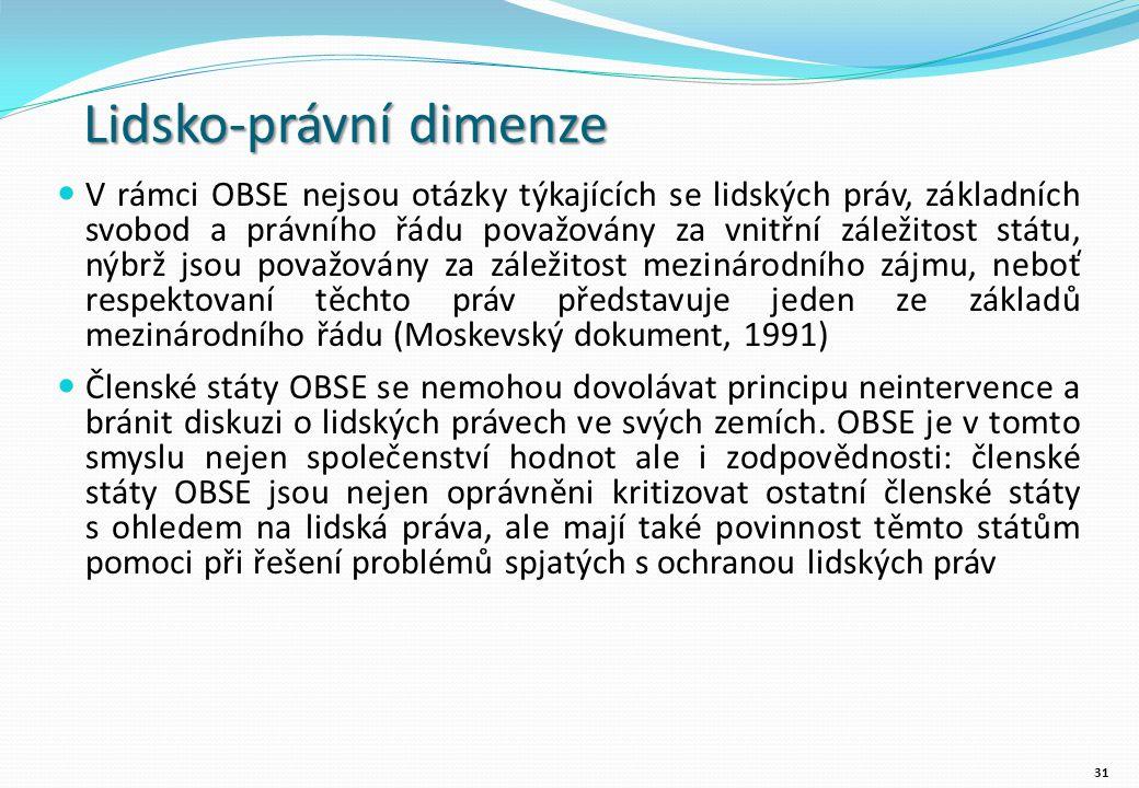 Lidsko-právní dimenze V rámci OBSE nejsou otázky týkajících se lidských práv, základních svobod a právního řádu považovány za vnitřní záležitost státu, nýbrž jsou považovány za záležitost mezinárodního zájmu, neboť respektovaní těchto práv představuje jeden ze základů mezinárodního řádu (Moskevský dokument, 1991) Členské státy OBSE se nemohou dovolávat principu neintervence a bránit diskuzi o lidských právech ve svých zemích.
