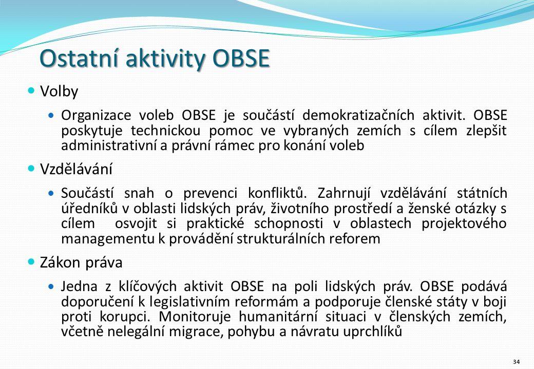 Ostatní aktivity OBSE Volby Organizace voleb OBSE je součástí demokratizačních aktivit.