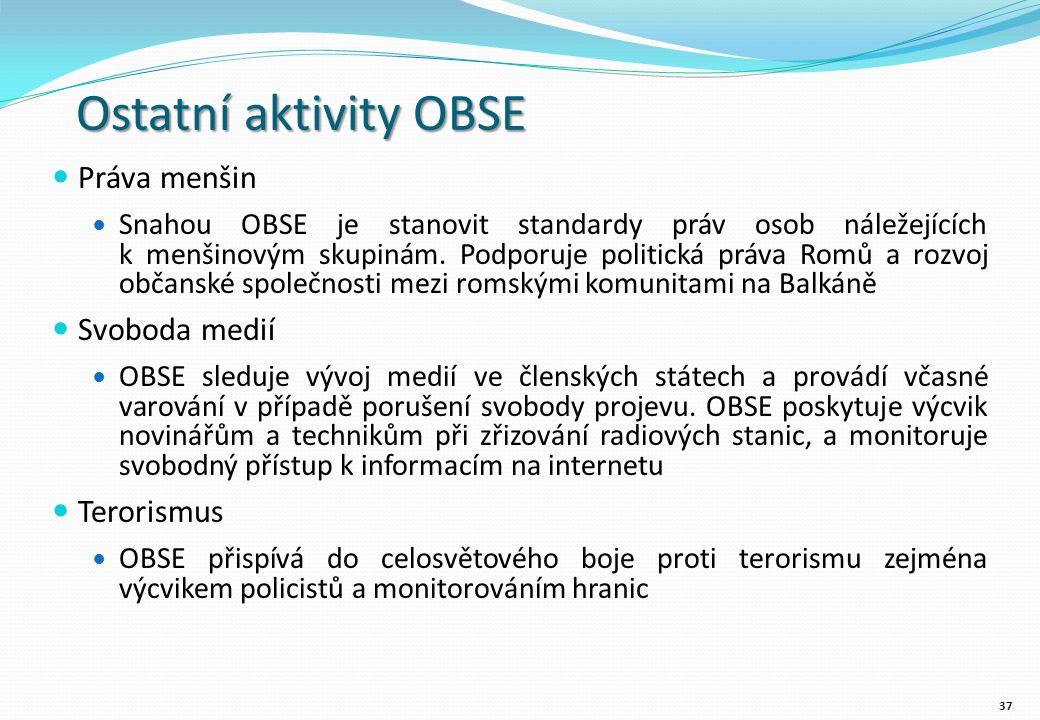 Ostatní aktivity OBSE Práva menšin Snahou OBSE je stanovit standardy práv osob náležejících k menšinovým skupinám.