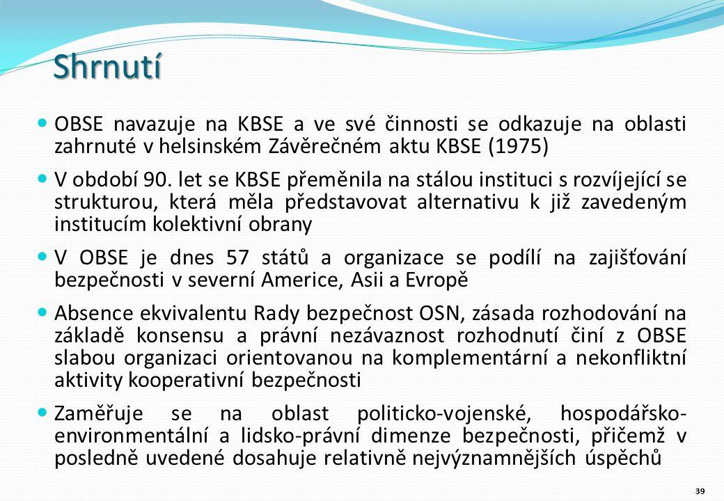 Shrnutí OBSE navazuje na KBSE a ve své činnosti se odkazuje na oblasti zahrnuté v helsinském Závěrečném aktu KBSE (1975) V období 90.