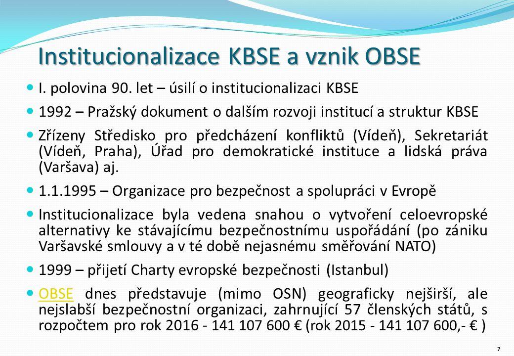 Ostatní aktivity OBSE Vojenská reforma Aktivity OBSE v oblasti vojenské reformy probíhají na dvou úrovních: zatímco praktické aktivity jsou uskutečňovány v misích OBSE a rovněž pak Střediskem pro prevenci konfliktů, politická jednání se odehrávají na půdě Fóra pro bezpečnost a spolupráci, které poskytuje rámec pro dialog o vojenské reformě mezi členskými státy vedoucí k politicky závazným dohodám Praktické aktivity zahrnují pomoc státům při reformě legislativy, snížení a/nebo konverzi ozbrojených sil, výcviku v oblasti humanitárním práva a v ostatních oblastech souvisejících s vojenskou reformou.