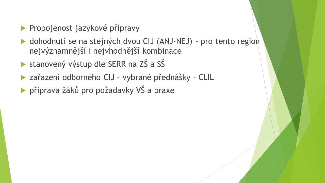  Propojenost jazykové přípravy  dohodnutí se na stejných dvou CIJ (ANJ-NEJ) - pro tento region nejvýznamnější i nejvhodnější kombinace  stanovený výstup dle SERR na ZŠ a SŠ  zařazení odborného CIJ – vybrané přednášky – CLIL  příprava žáků pro požadavky VŠ a praxe