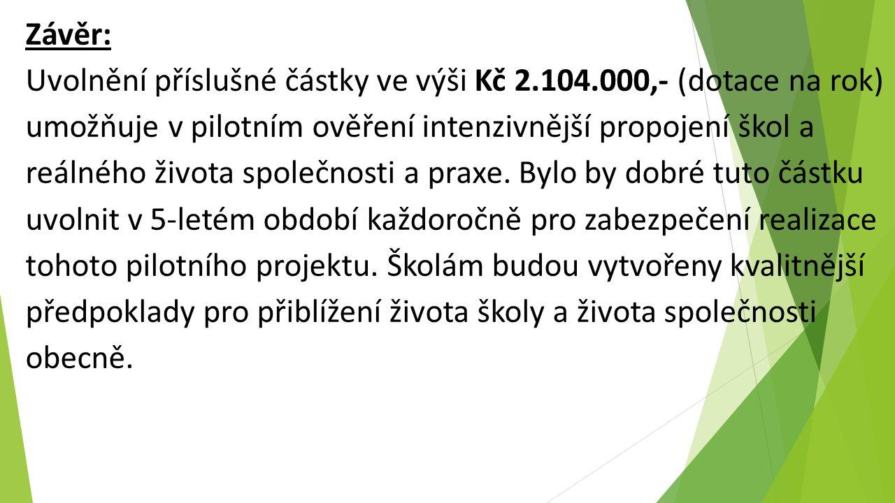 Závěr: Uvolnění příslušné částky ve výši Kč 2.104.000,- (dotace na rok) umožňuje v pilotním ověření intenzivnější propojení škol a reálného života společnosti a praxe.