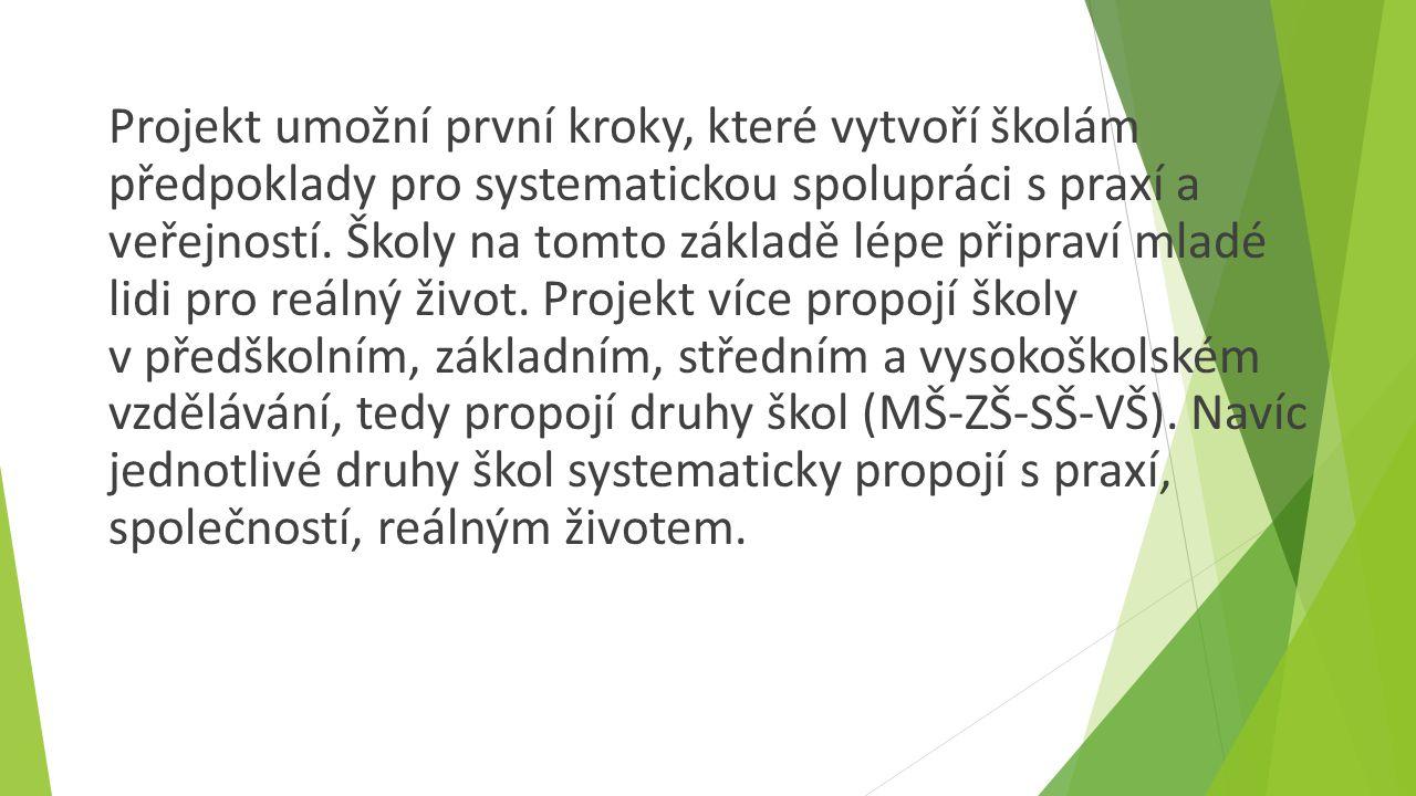 Projekt umožní první kroky, které vytvoří školám předpoklady pro systematickou spolupráci s praxí a veřejností.